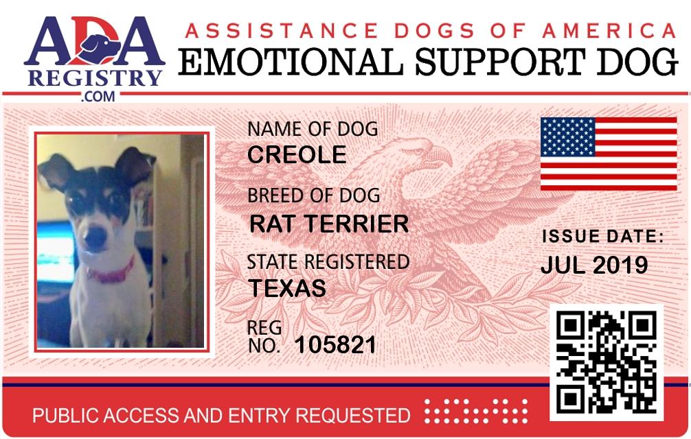 Emotional Support Dog Registration For Creole Ada Assistance Dog Registry