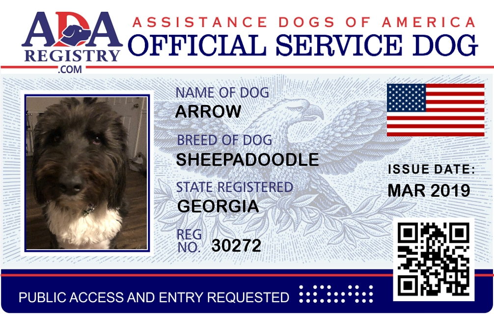 Emotional Support Dog Registration for Arrow | ADA
