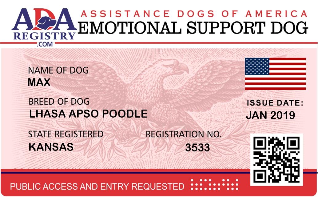 Emotional Support Dog Registration for Max | ADA Assistance
