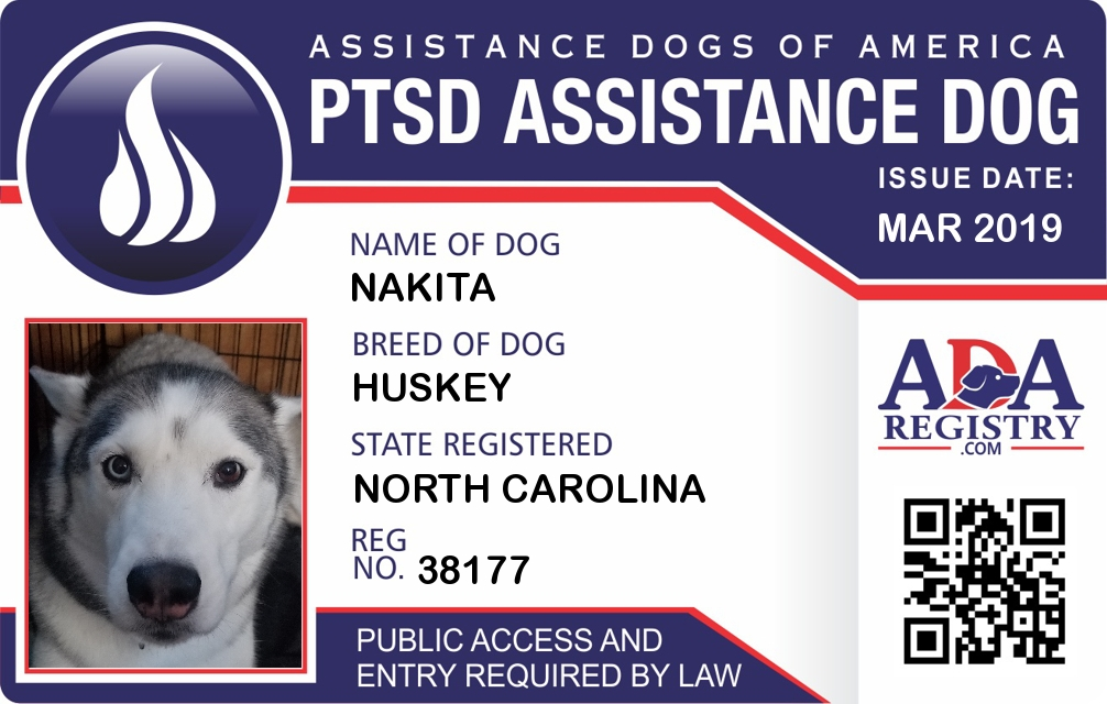 0c7428a4fcf9 PTSD Assistance Dog Registration for Nakita | ADA Assistance Dog ...