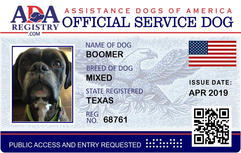 Service Dog Registration For Boomer Ada Assistance Dog Registry